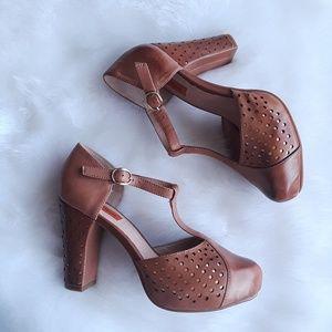 Miz Mooz Fancy Cutout T-Strap Pump Heel